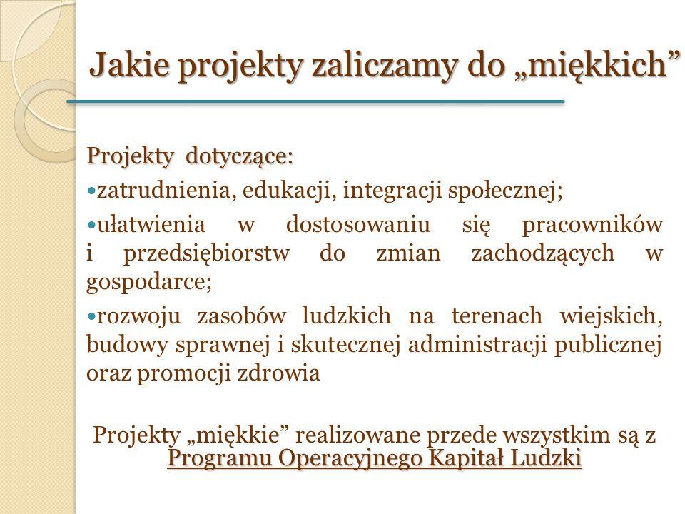 Projekty dotyczące: zatrudnienia, edukacji, integracji społecznej; ułatwienia w dostosowaniu się pracowników i przedsiębiorstw do zmian zachodzących w