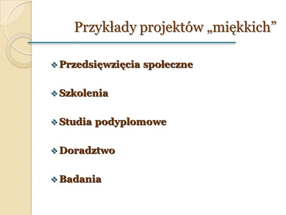 """Przykłady projektów """"miękkich""""  Przedsięwzięcia społeczne  Szkolenia  Studia podyplomowe  Doradztwo  Badania"""