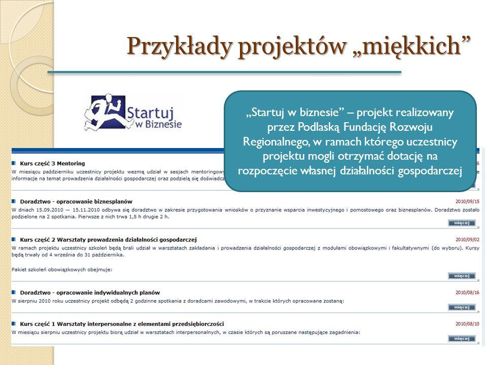 """Przykłady projektów """"miękkich"""" """"Startuj w biznesie"""" – projekt realizowany przez Podlaską Fundację Rozwoju Regionalnego, w ramach którego uczestnicy pr"""