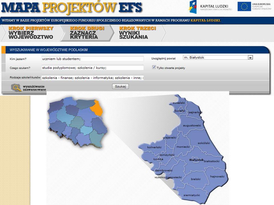 Mapa projektów EFS Baza projektów Europejskiego Funduszu Społecznego realizowanych w ramach programu Kapitał Ludzki To tu znajdziemy wszystkie ważne informacje odnośnie projektów realizowanych w naszym województwie o tematyce która nas szczególnie interesuje np.