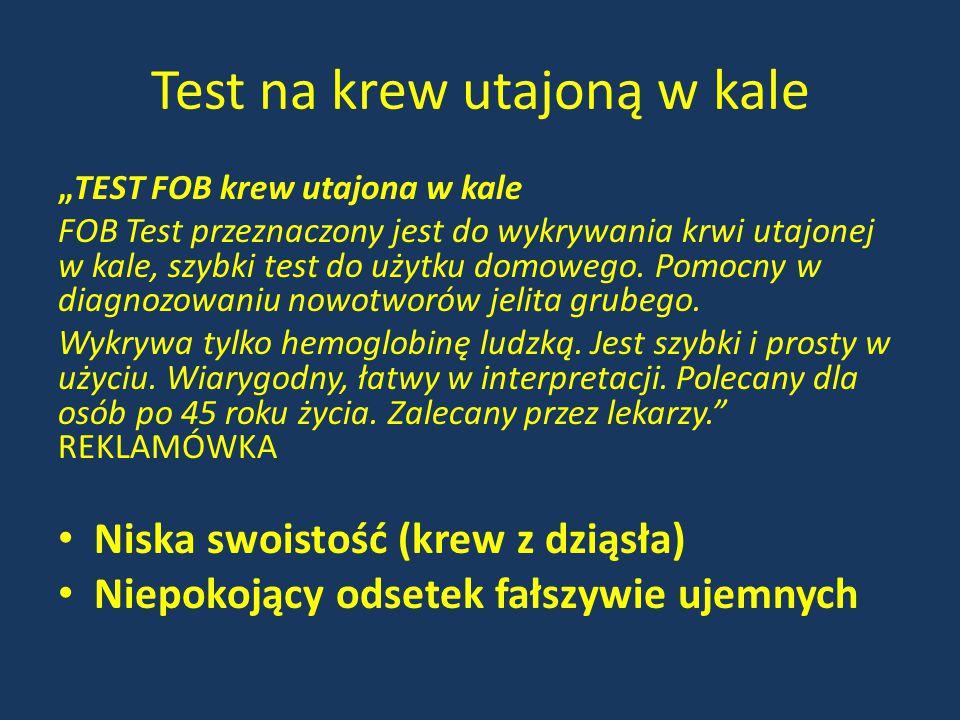 """Test na krew utajoną w kale """"TEST FOB krew utajona w kale FOB Test przeznaczony jest do wykrywania krwi utajonej w kale, szybki test do użytku domoweg"""