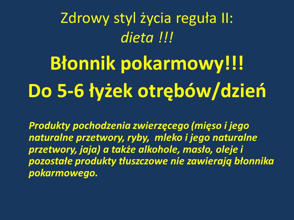 Zdrowy styl życia reguła II: dieta !!! Błonnik pokarmowy!!! Do 5-6 łyżek otrębów/dzień Produkty pochodzenia zwierzęcego (mięso i jego naturalne przetw