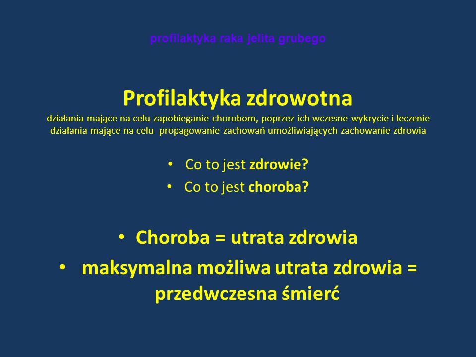 profilaktyka raka jelita grubego Profilaktyka zdrowotna działania mające na celu zapobieganie chorobom, poprzez ich wczesne wykrycie i leczenie działa