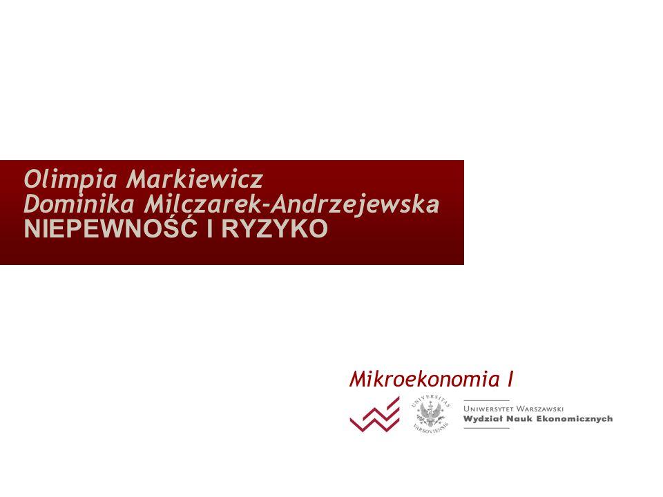 Olimpia Markiewicz Dominika Milczarek-Andrzejewsk a NIEPEWNOŚĆ I RYZYKO Mikroekonomia I