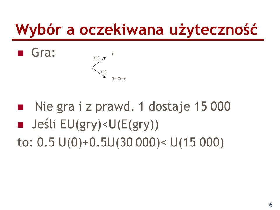 17 Ubezpieczenia Risk averse U=M 0.5 EU(Gry)=1/100*0 0.5 +99/100*30 000 0.5 EU=(30 000-x) 0.5 x>>300 Z punktu widzenia firmy ubezpieczeniowej osoby risk averse są godne zainteresowania, gdyż tylko one są skłonne zapłacić więcej niż minimalna składka ubezpieczeniowa.
