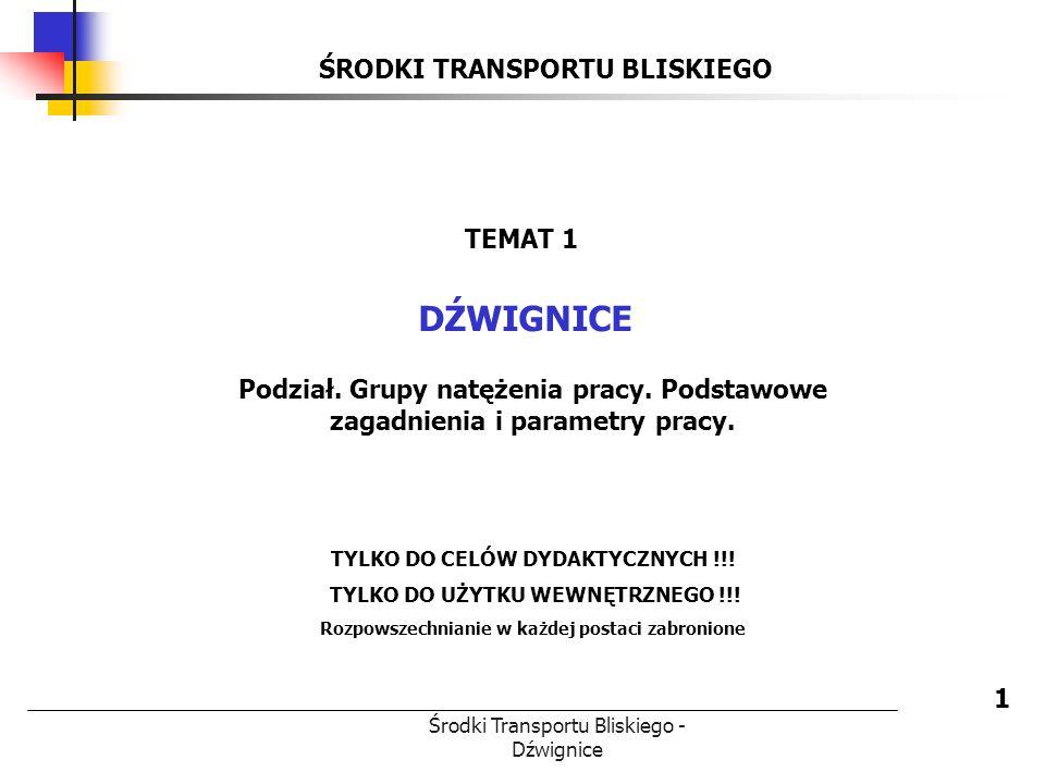 Środki Transportu Bliskiego - Dźwignice ŚRODKI TRANSPORTU BLISKIEGO DŹWIGNICE 1 TEMAT 1 Podział. Grupy natężenia pracy. Podstawowe zagadnienia i param