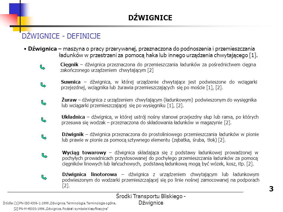 Środki Transportu Bliskiego - Dźwignice DŹWIGNICE 3 DŹWIGNICE - DEFINICJE Dźwignica – maszyna o pracy przerywanej, przeznaczona do podnoszenia i przem