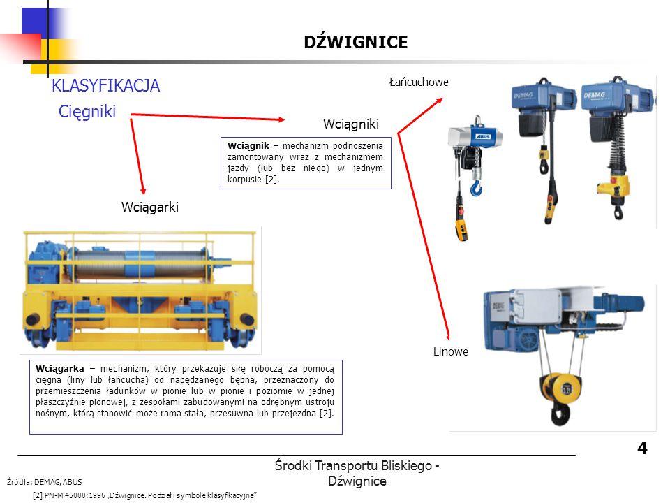Środki Transportu Bliskiego - Dźwignice DŹWIGNICE 4 KLASYFIKACJA Cięgniki Wciągniki Łańcuchowe Linowe Wciągarki Źródła: DEMAG, ABUS [2] PN-M 45000:199