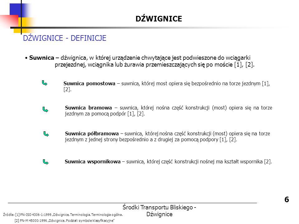 Środki Transportu Bliskiego - Dźwignice DŹWIGNICE 6 DŹWIGNICE - DEFINICJE Suwnica – dźwignica, w której urządzenie chwytające jest podwieszone do wcią