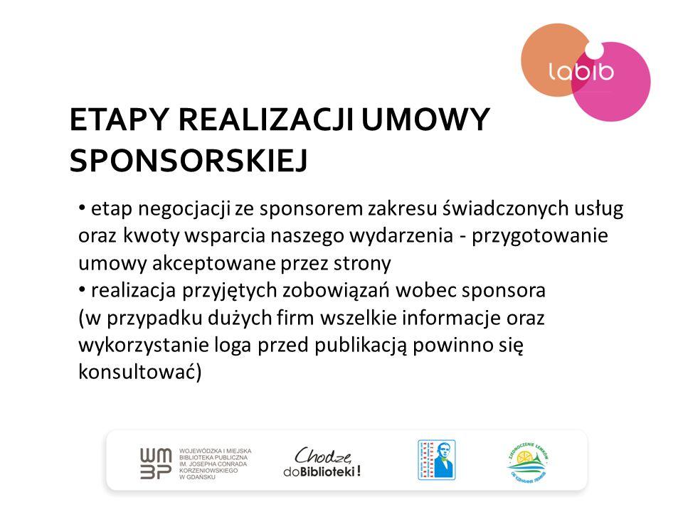 ETAPY REALIZACJI UMOWY SPONSORSKIEJ etap negocjacji ze sponsorem zakresu świadczonych usług oraz kwoty wsparcia naszego wydarzenia - przygotowanie umo