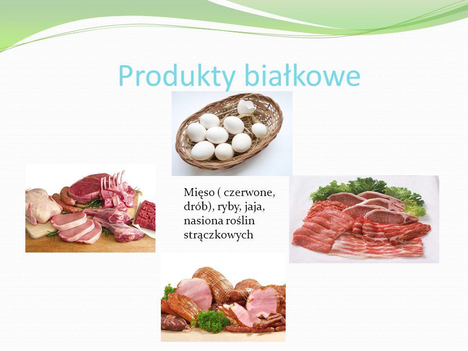 Mięso ( czerwone, drób), ryby, jaja, nasiona roślin strączkowych Produkty białkowe
