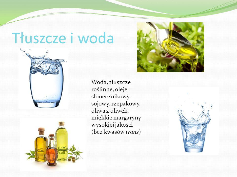 Tłuszcze i woda Woda, tłuszcze roślinne, oleje – słonecznikowy, sojowy, rzepakowy, oliwa z oliwek, miękkie margaryny wysokiej jakości (bez kwasów tran