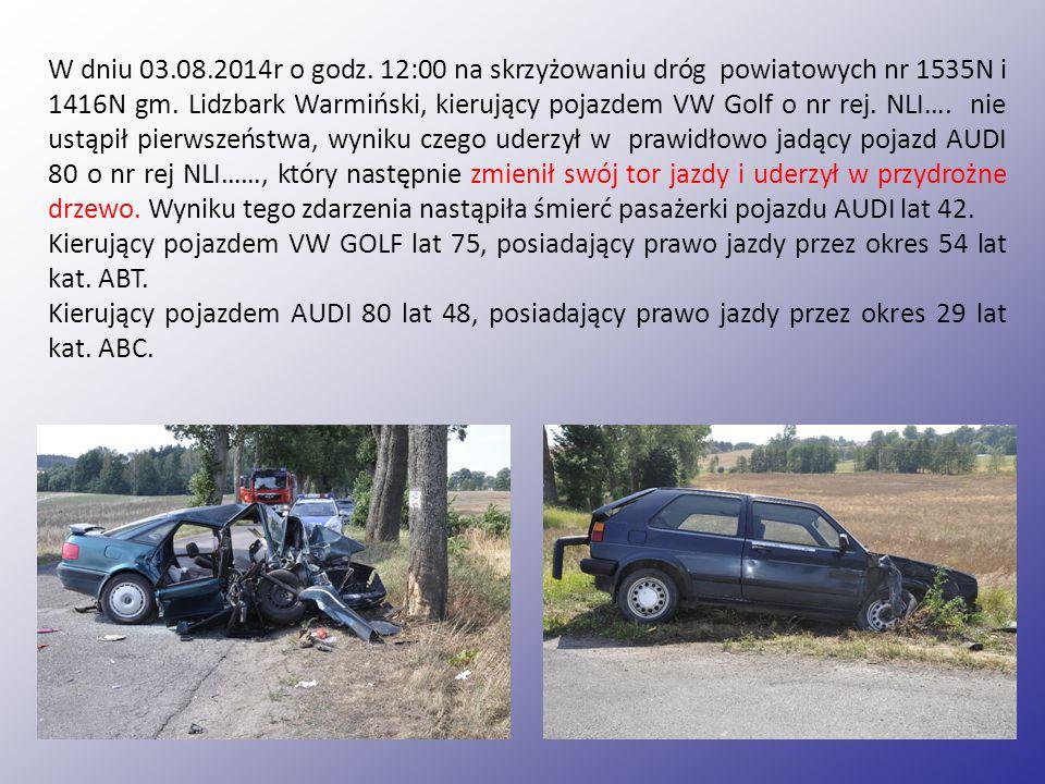 W dniu 03.08.2014r o godz.12:00 na skrzyżowaniu dróg powiatowych nr 1535N i 1416N gm.