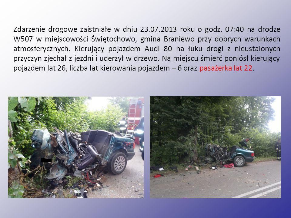 Zdarzenie drogowe zaistniałe w dniu 23.07.2013 roku o godz.