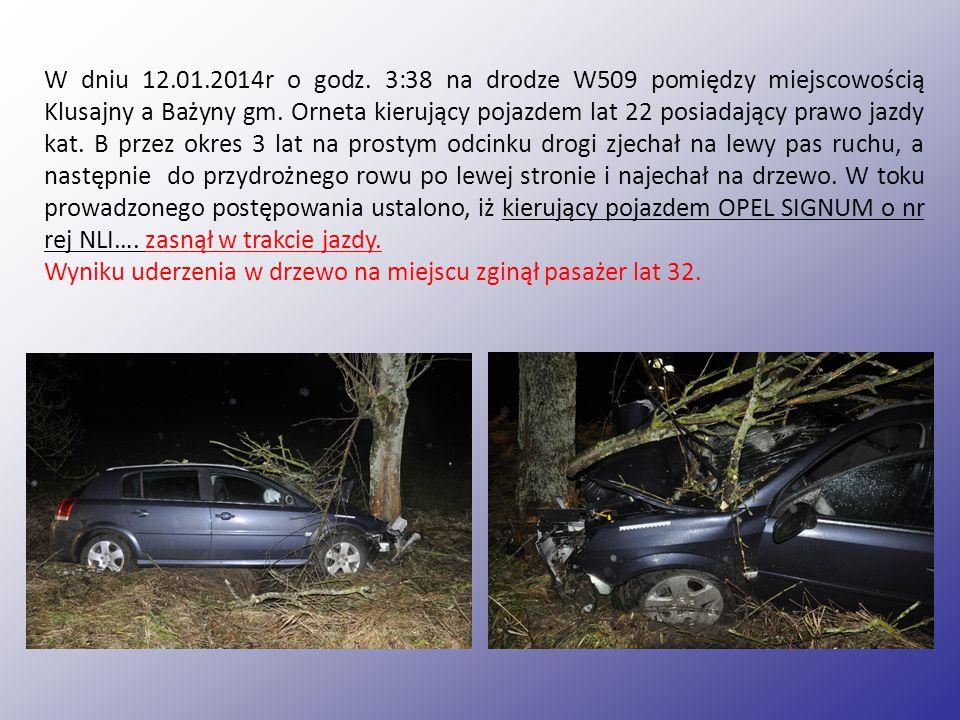 W dniu 12.01.2014r o godz.3:38 na drodze W509 pomiędzy miejscowością Klusajny a Bażyny gm.