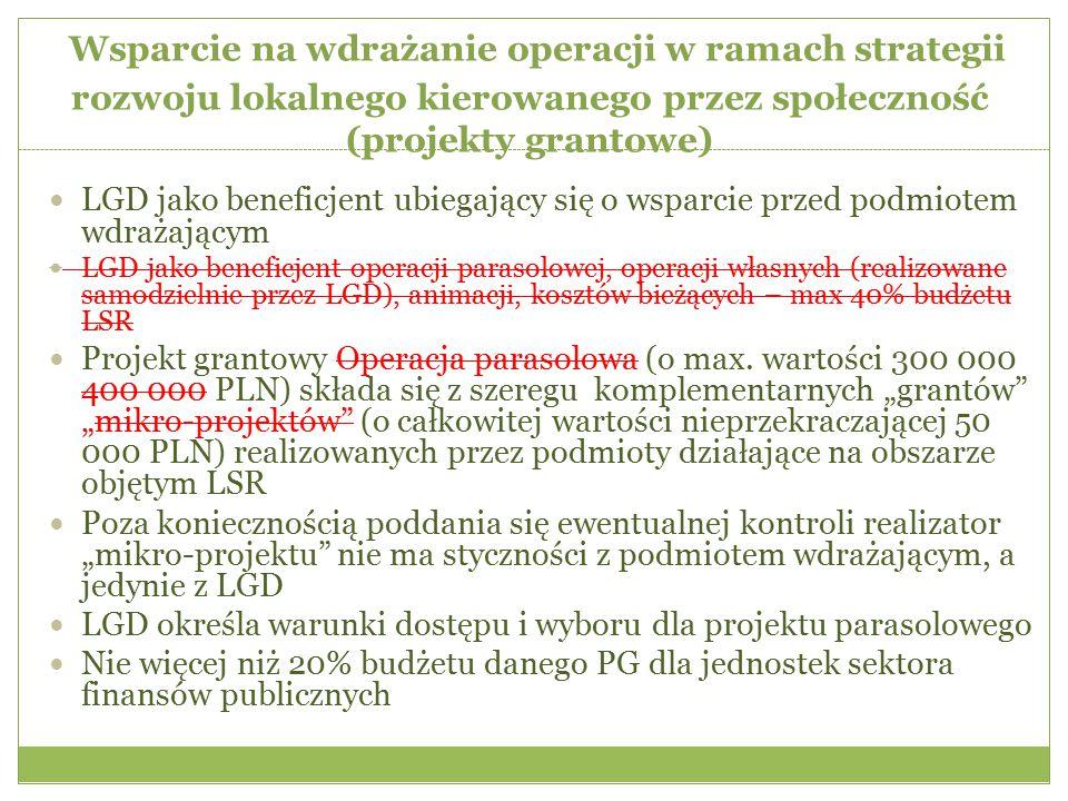 Wsparcie na wdrażanie operacji w ramach strategii rozwoju lokalnego kierowanego przez społeczność (projekty grantowe) LGD jako beneficjent ubiegający się o wsparcie przed podmiotem wdrażającym LGD jako beneficjent operacji parasolowej, operacji własnych (realizowane samodzielnie przez LGD), animacji, kosztów bieżących – max 40% budżetu LSR Projekt grantowy Operacja parasolowa (o max.