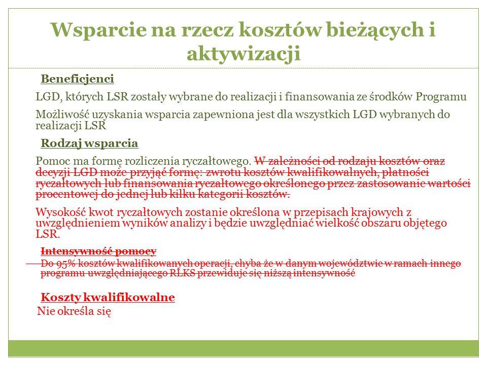 Wsparcie na rzecz kosztów bieżących i aktywizacji Beneficjenci LGD, których LSR zostały wybrane do realizacji i finansowania ze środków Programu Możli