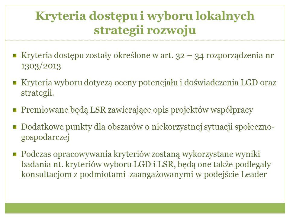 Kryteria dostępu i wyboru lokalnych strategii rozwoju Kryteria dostępu zostały określone w art. 32 – 34 rozporządzenia nr 1303/2013 Kryteria wyboru do