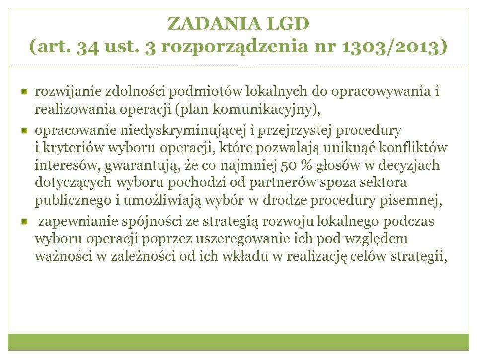 ZADANIA LGD (art. 34 ust. 3 rozporządzenia nr 1303/2013) rozwijanie zdolności podmiotów lokalnych do opracowywania i realizowania operacji (plan komun