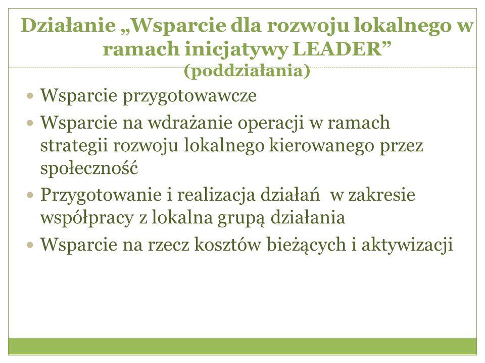 """Działanie """"Wsparcie dla rozwoju lokalnego w ramach inicjatywy LEADER (poddziałania) Wsparcie przygotowawcze Wsparcie na wdrażanie operacji w ramach strategii rozwoju lokalnego kierowanego przez społeczność Przygotowanie i realizacja działań w zakresie współpracy z lokalna grupą działania Wsparcie na rzecz kosztów bieżących i aktywizacji"""