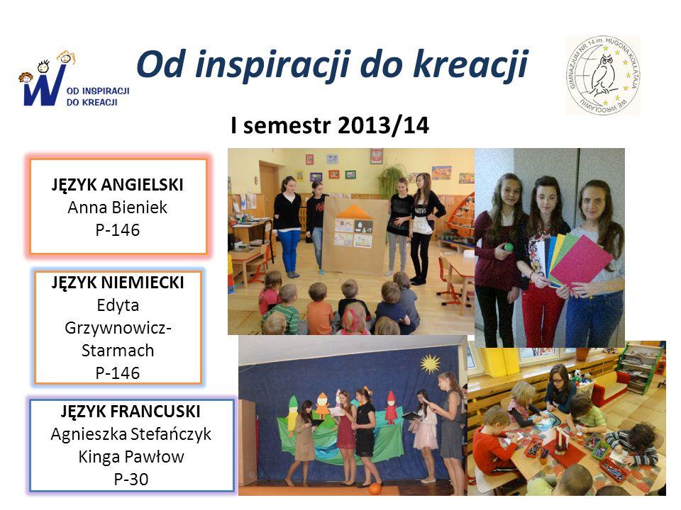 Od inspiracji do kreacji JĘZYK ANGIELSKI Anna Bieniek P-146 I semestr 2013/14 JĘZYK NIEMIECKI Edyta Grzywnowicz- Starmach P-146 JĘZYK FRANCUSKI Agnies
