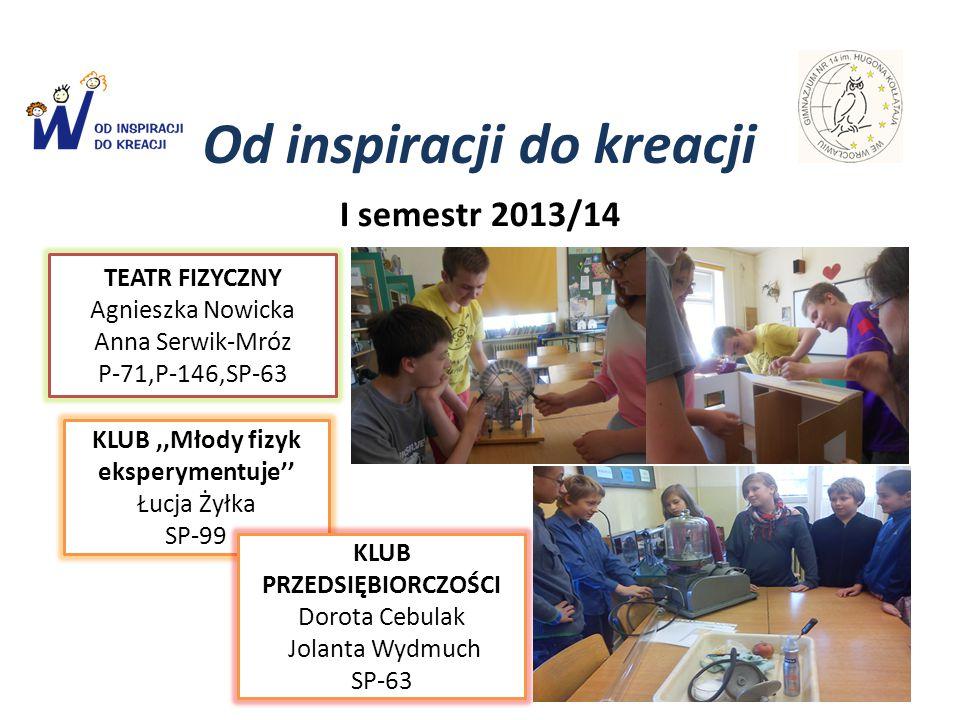 Od inspiracji do kreacji I semestr 2013/14 TEATR FIZYCZNY Agnieszka Nowicka Anna Serwik-Mróz P-71,P-146,SP-63 KLUB,,Młody fizyk eksperymentuje'' Łucja