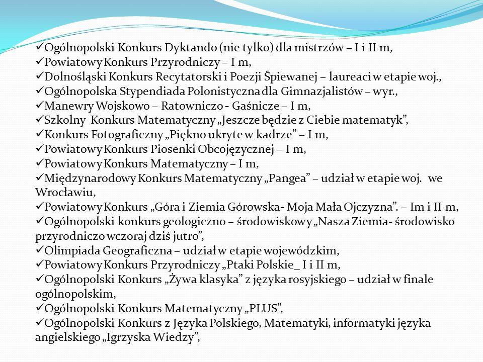 """Ogólnopolski Konkurs Dyktando (nie tylko) dla mistrzów – I i II m, Powiatowy Konkurs Przyrodniczy – I m, Dolnośląski Konkurs Recytatorski i Poezji Śpiewanej – laureaci w etapie woj., Ogólnopolska Stypendiada Polonistyczna dla Gimnazjalistów – wyr., Manewry Wojskowo – Ratowniczo - Gaśnicze – I m, Szkolny Konkurs Matematyczny """"Jeszcze będzie z Ciebie matematyk , Konkurs Fotograficzny """"Piękno ukryte w kadrze – I m, Powiatowy Konkurs Piosenki Obcojęzycznej – I m, Powiatowy Konkurs Matematyczny – I m, Międzynarodowy Konkurs Matematyczny """"Pangea – udział w etapie woj."""