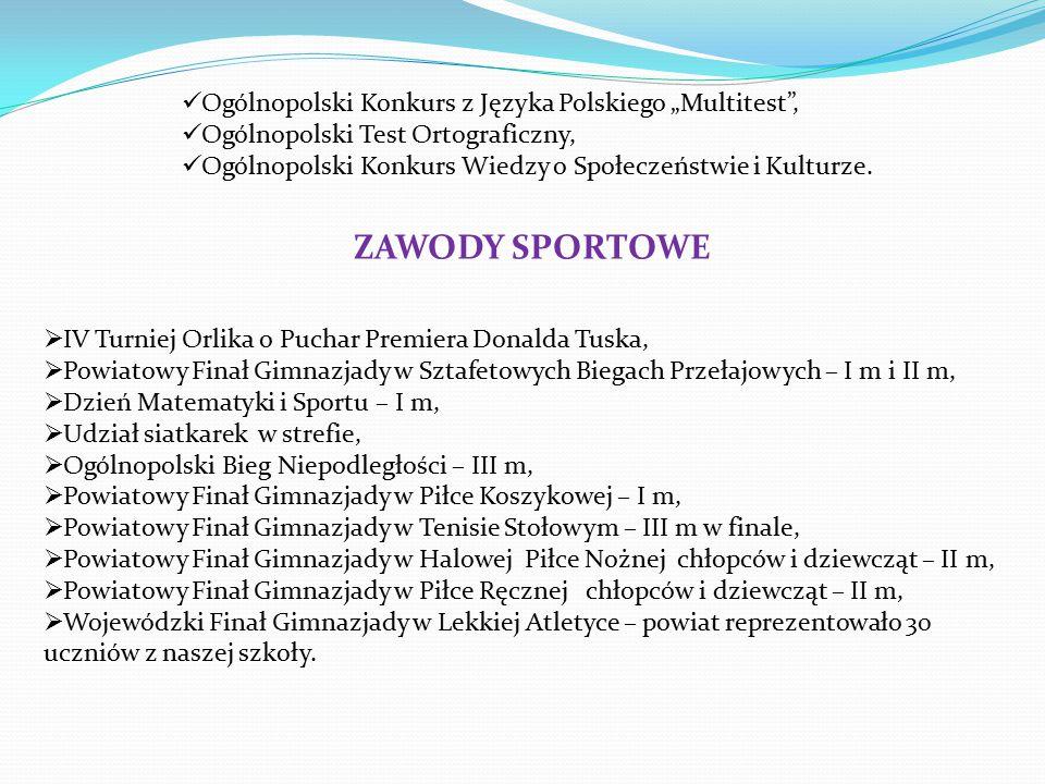 """Ogólnopolski Konkurs z Języka Polskiego """"Multitest , Ogólnopolski Test Ortograficzny, Ogólnopolski Konkurs Wiedzy o Społeczeństwie i Kulturze."""