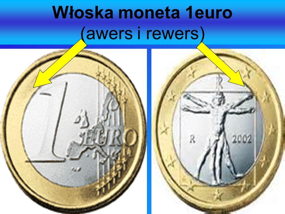 Włoska moneta 1euro (awers i rewers)