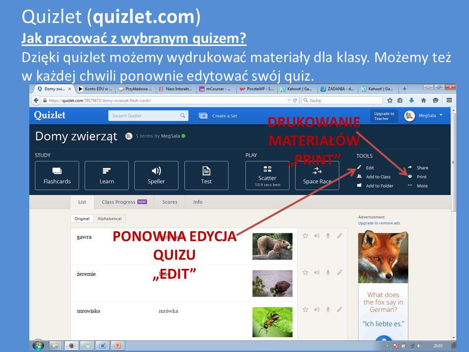 Quizlet (quizlet.com) Jak pracować z wybranym quizem.