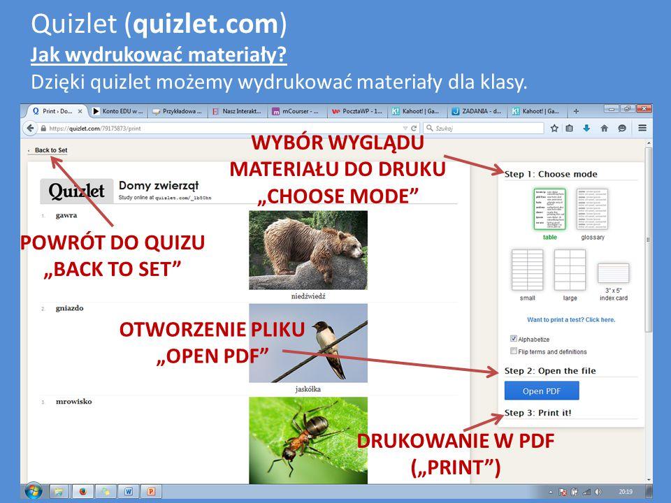 Quizlet (quizlet.com) Jak wydrukować materiały.