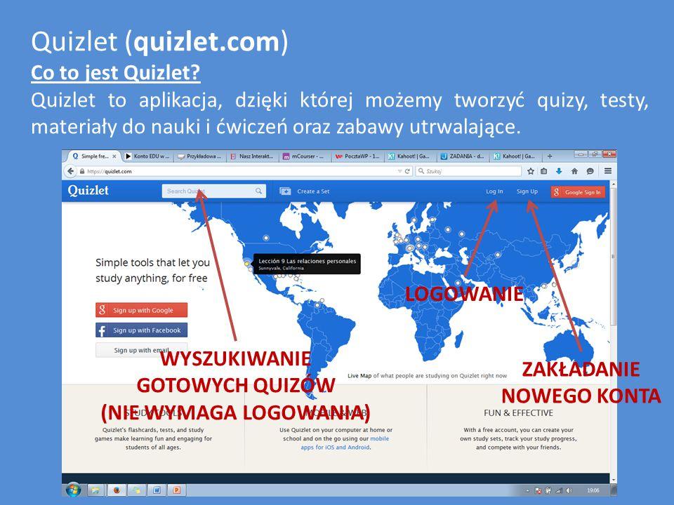 Quizlet (quizlet.com) Jak stworzyć nowy quiz.