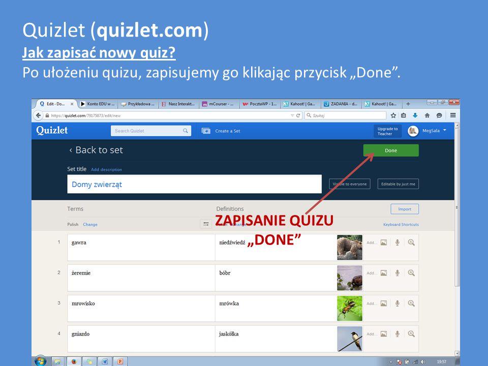 Quizlet (quizlet.com) Jak zapisać nowy quiz.