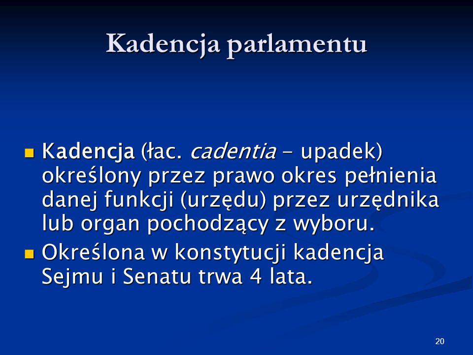 19 Zgromadzenie Narodowe - kompetencje przyjmuje przysięgę od nowo wybranego prezydenta (art. 130 Konstytucji RP) przyjmuje przysięgę od nowo wybraneg