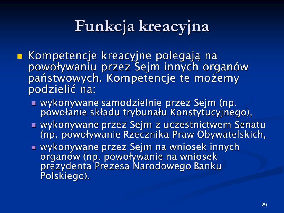 28 Funkcja kontrolna Funkcja ta polega na kontroli sprawowanej przez Sejm nad działalności innych organów państwowych (w szczególności Rady Ministrów)