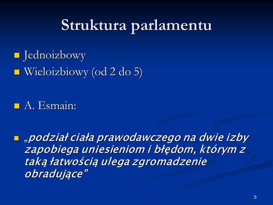 5 Struktura parlamentu Jednoizbowy Jednoizbowy Wieloizbiowy (od 2 do 5) Wieloizbiowy (od 2 do 5) A.