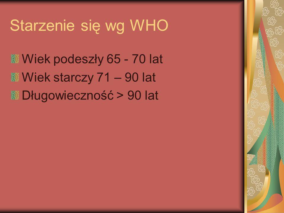 Starzenie się wg WHO Wiek podeszły 65 - 70 lat Wiek starczy 71 – 90 lat Długowieczność > 90 lat