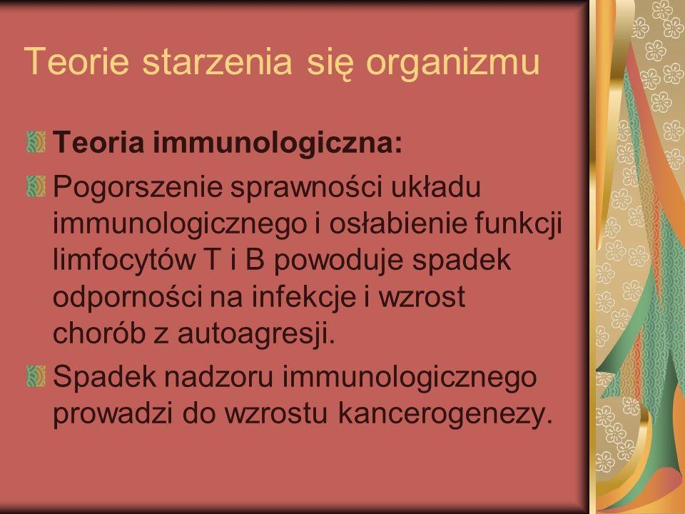 Teorie starzenia się organizmu Teoria immunologiczna: Pogorszenie sprawności układu immunologicznego i osłabienie funkcji limfocytów T i B powoduje sp