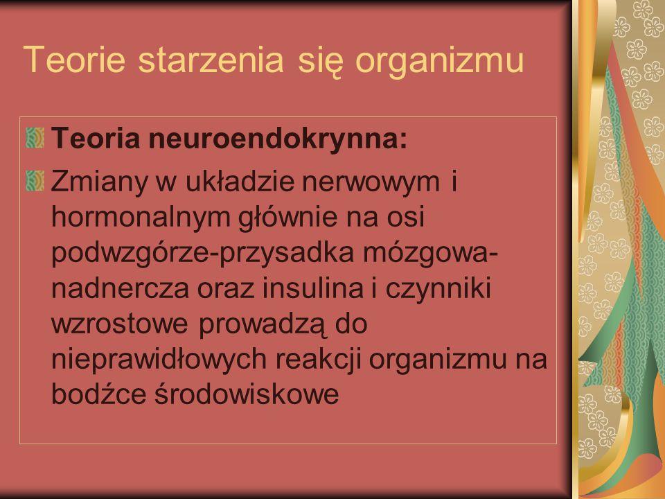 Teorie starzenia się organizmu Teoria neuroendokrynna: Zmiany w układzie nerwowym i hormonalnym głównie na osi podwzgórze-przysadka mózgowa- nadnercza