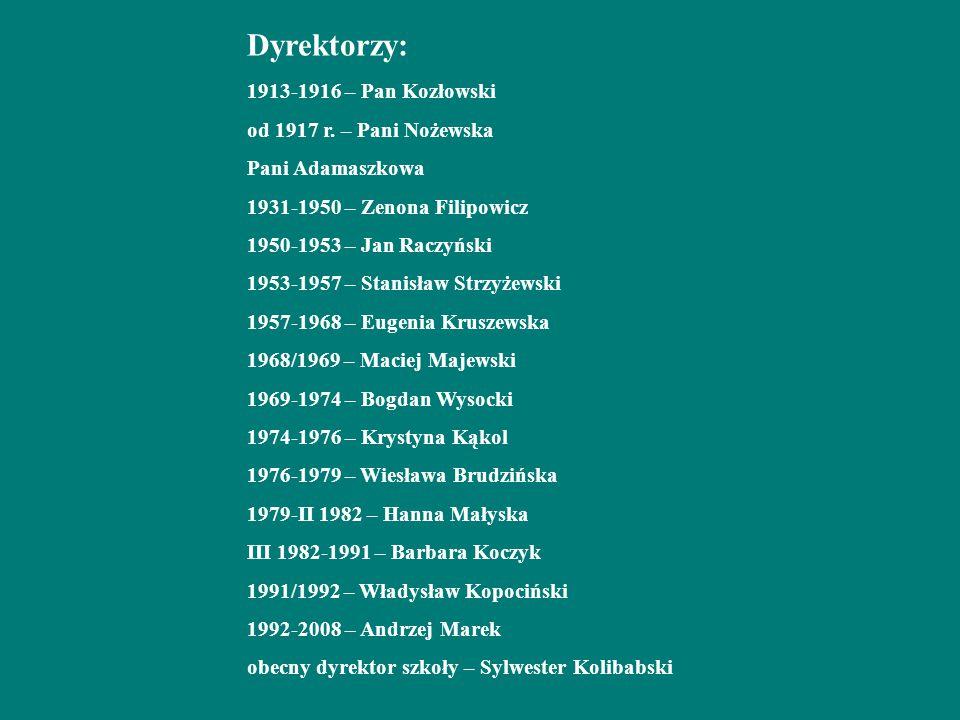 Dyrektorzy: 1913-1916 – Pan Kozłowski od 1917 r.