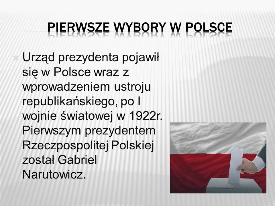  Urząd prezydenta pojawił się w Polsce wraz z wprowadzeniem ustroju republikańskiego, po I wojnie światowej w 1922r. Pierwszym prezydentem Rzeczpospo