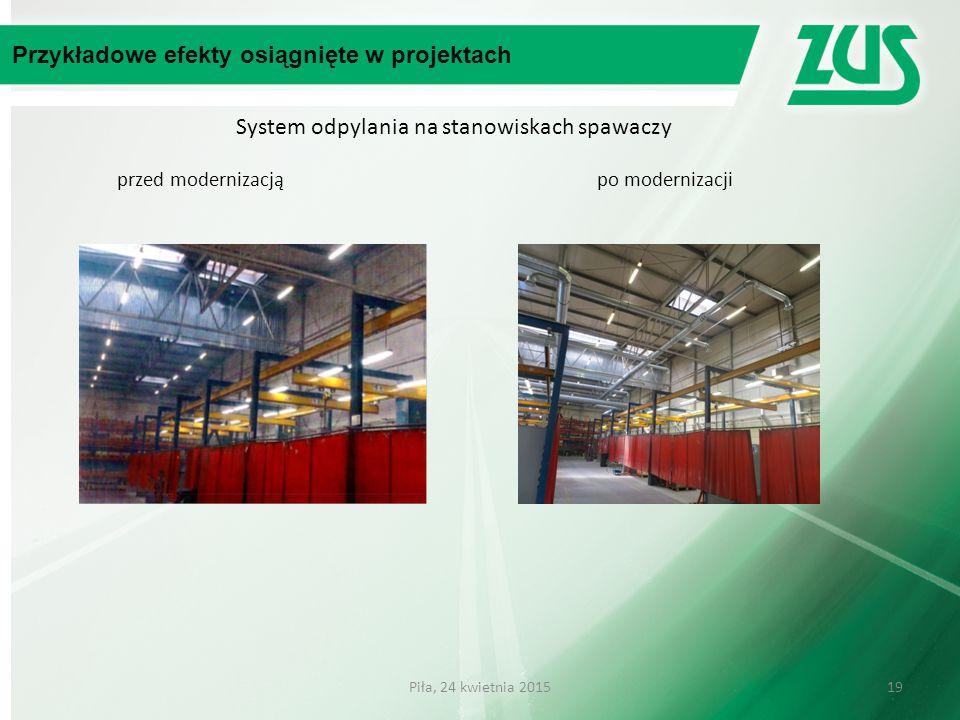 System odpylania na stanowiskach spawaczy przed modernizacją po modernizacji Przykładowe efekty osiągnięte w projektach 19Piła, 24 kwietnia 2015