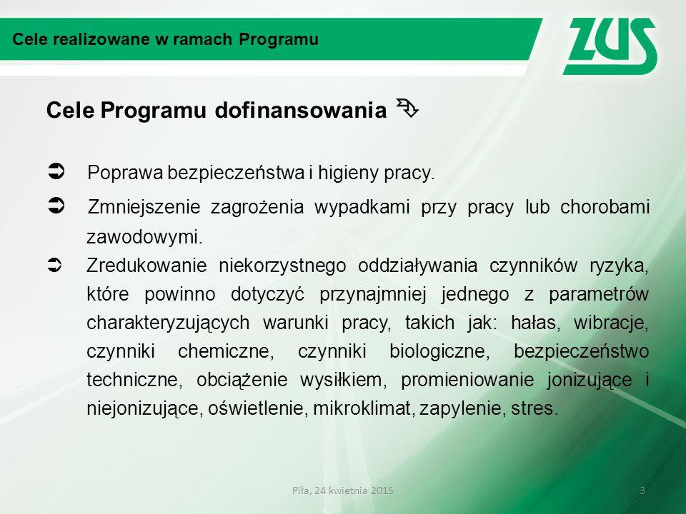 Cele Programu dofinansowania   Poprawa bezpieczeństwa i higieny pracy.