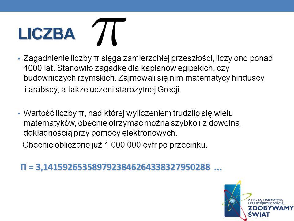 LICZBA Zagadnienie liczby π sięga zamierzchłej przeszłości, liczy ono ponad 4000 lat. Stanowiło zagadkę dla kapłanów egipskich, czy budowniczych rzyms