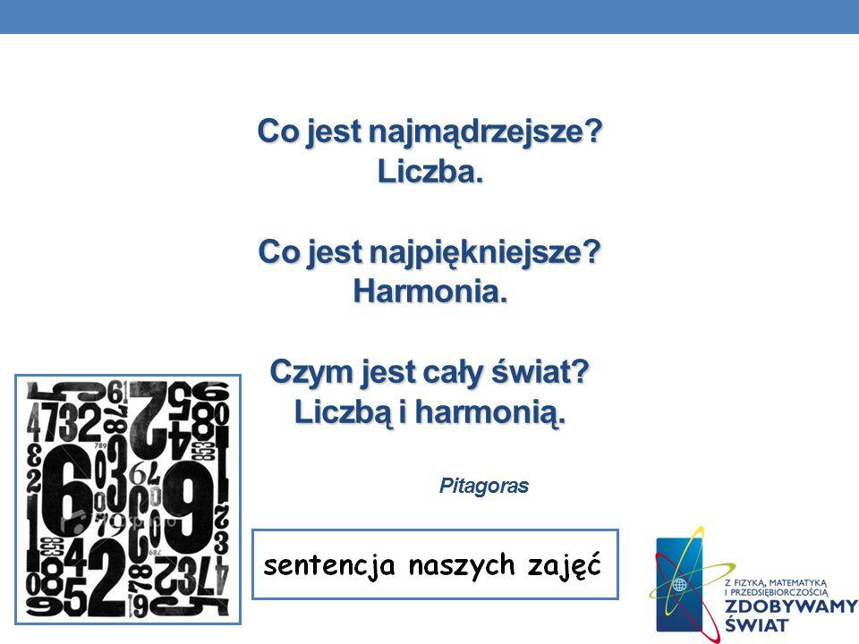 Co jest najmądrzejsze? Liczba. Co jest najpiękniejsze? Harmonia. Czym jest cały świat? Liczbą i harmonią. Co jest najmądrzejsze? Liczba. Co jest najpi