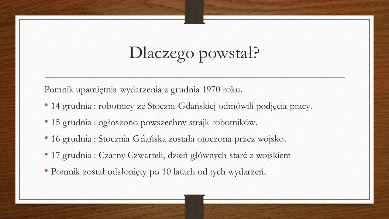 Dlaczego powstał? Pomnik upamiętnia wydarzenia z grudnia 1970 roku. 14 grudnia : robotnicy ze Stoczni Gdańskiej odmówili podjęcia pracy. 15 grudnia :