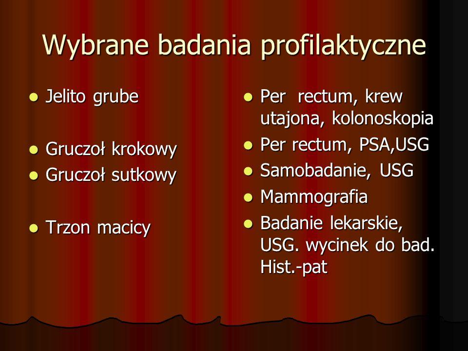 Wybrane badania profilaktyczne Jelito grube Jelito grube Gruczoł krokowy Gruczoł krokowy Gruczoł sutkowy Gruczoł sutkowy Trzon macicy Trzon macicy Per rectum, krew utajona, kolonoskopia Per rectum, krew utajona, kolonoskopia Per rectum, PSA,USG Per rectum, PSA,USG Samobadanie, USG Samobadanie, USG Mammografia Mammografia Badanie lekarskie, USG.
