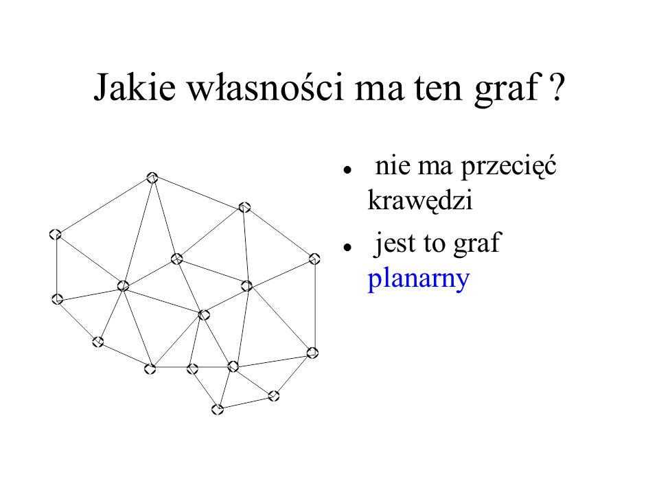 Jakie własności ma ten graf ? nie ma przecięć krawędzi jest to graf planarny