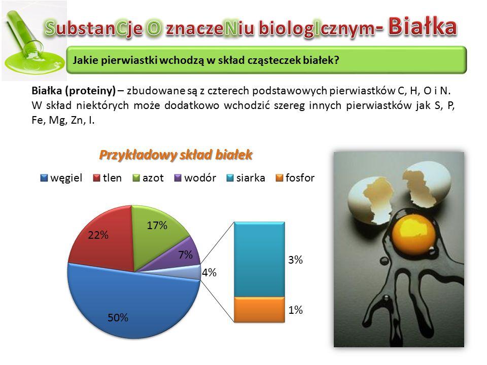 Jakie pierwiastki wchodzą w skład cząsteczek białek? Białka (proteiny) – zbudowane są z czterech podstawowych pierwiastków C, H, O i N. W skład niektó