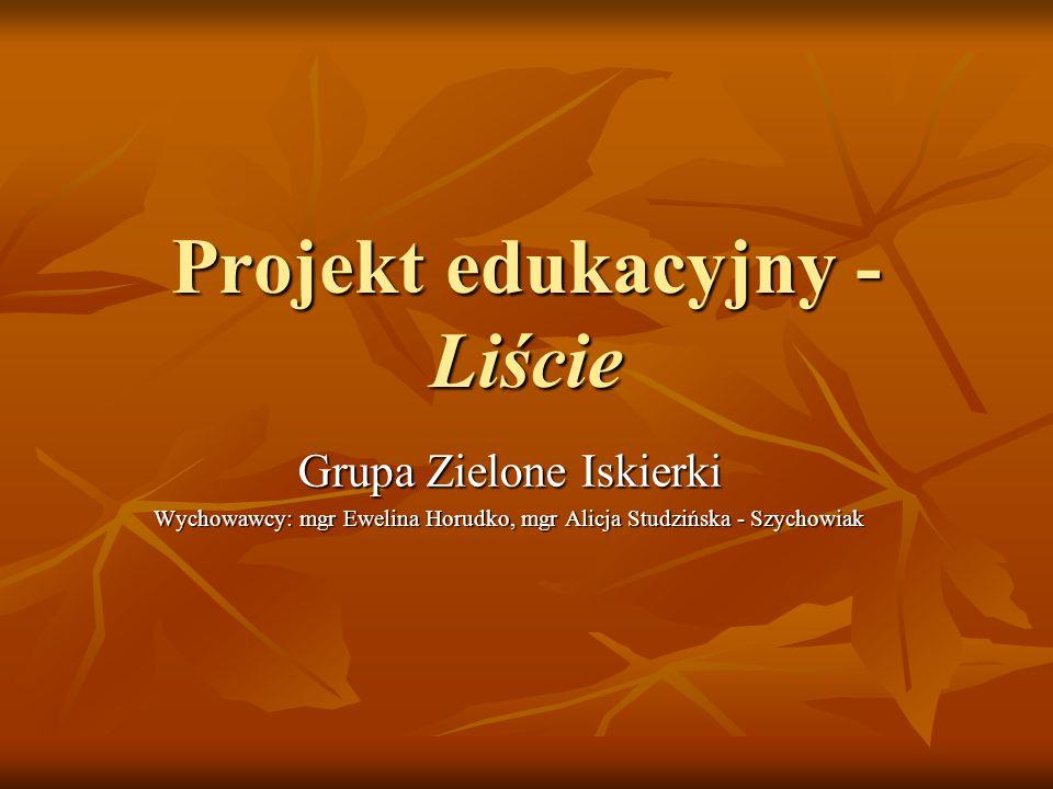 Projekt edukacyjny - Liście Grupa Zielone Iskierki Wychowawcy: mgr Ewelina Horudko, mgr Alicja Studzińska - Szychowiak